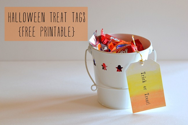 Halloween treat tags free printable rush and rest after buying my first bag of candy corn recently one of many i had the idea to make some ombre inspired gift tags using watercolors negle Gallery