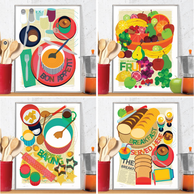 I Think These Colorful Illustrations Would Pop In An All White Kitchen Or A  ...